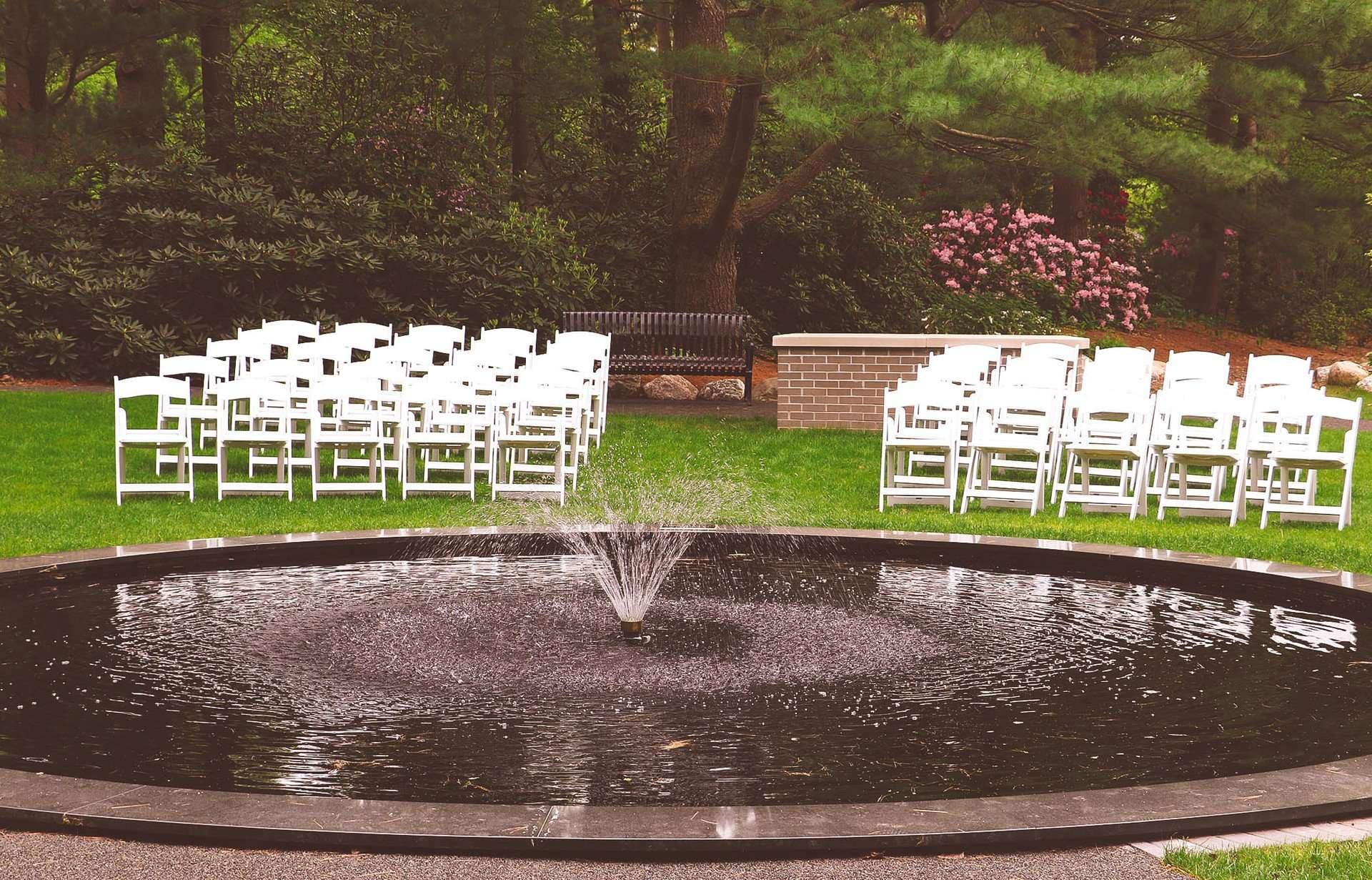 Chairs around fountain
