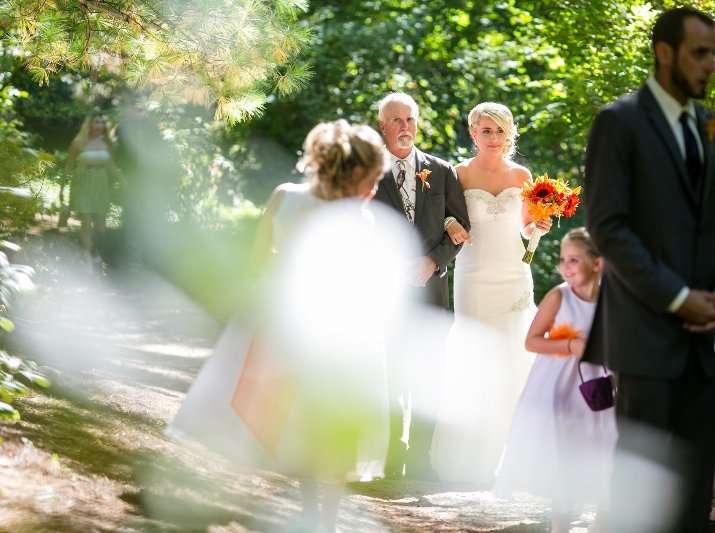 Father walking bride down asisle